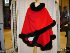 Red Cashmere Cape With Black Fox Fur Trim Beautifully Canadian Label
