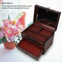Vintage Wooden Jewelry Storage Box Drawer Case Treasure Chest Organizer w/Mirror