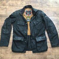 Men's Barbour International Black Selkirk Wax Biker Jacket Size Small