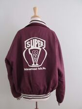 Vintage Size XL Maroon Super One International Falls MN Nylon Varsity Jacket