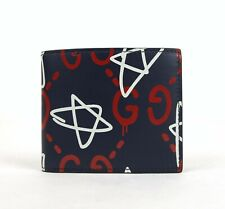 New Gucci Men's Ghost Blue Leather Mini GG Star Bi-fold Wallet 448463 4179