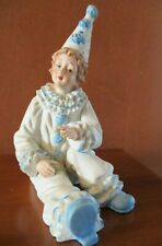 VTG. HAND PAINTED BISQUE PORCELAIN BOY CLOWN PIERROT FIGURINE