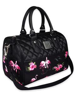 Liquor Brand Flamingos Floral Rockabilly Punk Crossbody Round Bag LB-ABRO-19002
