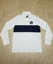 Express Mens White Blue Long Sleeve Rugby Polo Shirt New Sz M,L