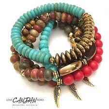 Gypsy Bracelet Set Of 6 Gemstone Angel Wing And Peace Charms  Bohemian Boho