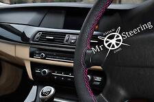 AUDI A4 B7 Cubierta del Volante Cuero Perforado Rosa Caliente Doble Costura