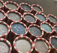 One Indian Head Penny Showing - Antique Lincoln Wheat Cent Coin Roll Estate Lot