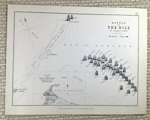 1855 Antique Military Map The Battle of The Nile Egypt Bay of Aboukir Navy Naval