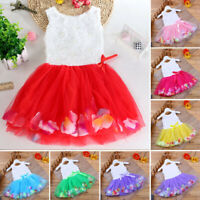 Toddler Infant Bow Tutu Petals Tulle Dresses Baby Girls Flower Gown Outfits 4Y