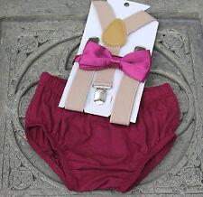 1st Birthday boy cake smash diaper cover bow tie Suspenders plum tan US