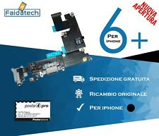 CONNETTORE DI RICARICA PER IPHONE 6+ PLUS DOCK FLEX FLAT MICROFONO JACK NERO