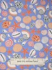 Sea Shell Starfish Toss Ocean Cotton Fabric Benertex Neptunes Dream #05973 YARD
