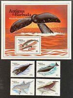 Antigua & Barbuda. Whales Stamp Set & Sheet. SG788/91. 1983. MNH. (MSC589)
