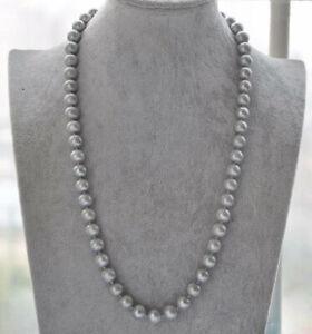 22''aaa 9-10mm Natural South Sea Tahitian Gray Pearl Necklace 14k