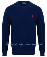 Ralph Lauren Polo Men's Crew Neck Cotton Knit Jumper Navy Grey Cream RRP £110