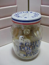 Grey Poupon Mustard Glass Jar full of Vintage Buttons White MOP/Plastic