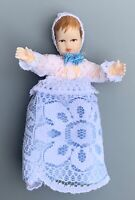 """CACO VINTAGE DOLLHOUSE MINIATURE BABY DOLL 2.5"""" FLEXIBLE POSABLE WEST GERMANY"""