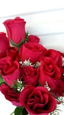 3 bunches of artificial flowers 7 head rose bud. Red. Home decor or graveside