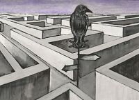 ACEO PRINT OF PAINTING CROW RAVEN RYTA GOTHIC ART SURREALISM WICCA MAGIC FOLK