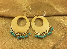 Handcrafted Gold Plated Earrings With Turquoise Stone