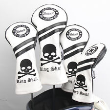 Black Skull & Bones Premium Pu Leather Head Cover Set 4 Covers D,3,5 & Hybrid