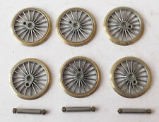 More details for oo 4mm driving wheels - 6x 24mm 18 spoke w nuts & axles - romford markits