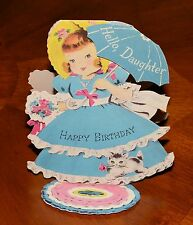 VINTAGE Birthday Card NORCROSS DIE-CUT GIRL with KITTEN CAT STAND-UP Mid-Century