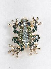 Frog Brooch Gold Tone Green Blue Crystal Rhinestone Amphibian Animal Pin