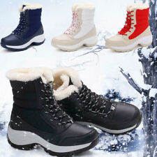 Fashion Womens Snow Ankle Boot Fur Lining Winter Flat Zip Shoes Waterproof Warm