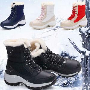 Fashion Womens Snow Ankle Boot Fur Lining Winter Flat Zip Shoes Waterproof Warm