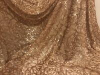 "Gold Stretch Sequins Embroidered Mesh Lace  Fabric 50"" Width Sold By The Yard"
