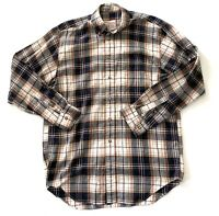 Brooks Brother Earth Tone Plaid Striped Mens Button Down Shirt Size Medium M