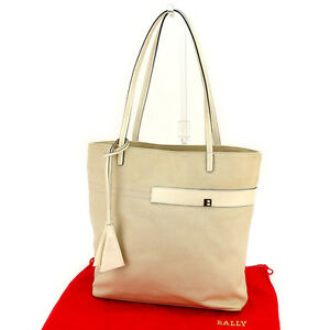 Bally Tote bag Beige White Woman Authentic Used E1070