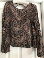 One Clothing Floral Paisley Flared Long Sleeved Top Size M