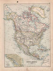 1901 VICTORIAN MAP ~ NORTH AMERICA UNITED STATES MEXICOCUBA JAMAICA NICARAGUA