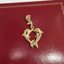 14k Yellow Gold Dolphin Tale Heart Winter Animal Fish Charm Bracelet Pendant 1""