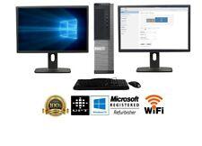 """Dell Desktop PC Computer Core 2 Duo 500GB 4GB DUAL 22"""" Dell LCDs WiFi Windows 10"""