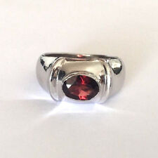 Sterling Silver 925 Oval Garnet Dome Ladies Ring Band Size 8