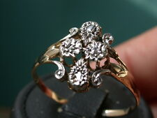 ANTIQUE NOUVEAU GOLD PLATINUM GENUINE DIAMONDS RING nr always combine shipp