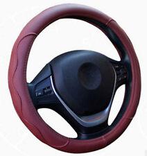 38cm Durable Burgundy Dynamic Fiber PU Leather Embossed Car Steering Wheel Cover