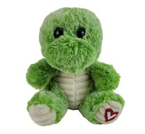 """Super Cute Green Turtle Plush Red Heart On Foot 6.5"""" Adorable Stuffed Animal"""