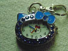 Kitty Blue Rhinestones Watch CLIP ON Key Chain  Montre Chatte Pierres Bleues