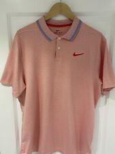 Nike Golf Vapor Control Stripe Coral Red & White Polo Shirt L