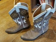 SANTA FE TAN ROUGH-OUT SUEDE COWBOY BOOTS, MEN'S SIZE 7M MADE IN USA