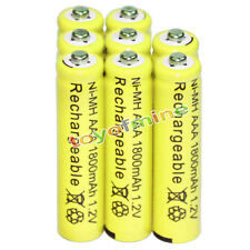 8x AAA battery batteries Bulk Nickel Hydride Rechargeable NI-MH 1800mAh 1.2V Ye