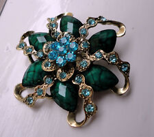 ZP408 Vintage Victorian Style Brooch Green Leaf Beautiful Floral Flower Crystals
