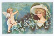 With Love and Devotion cupid Lancaster, PA used postcard couple lovers