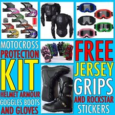 KIDS AND ADULTS DIRT BIKE MX KIT HELMET GOGGLES GLOVES BOOTS ARMOUR FREE JERSEY
