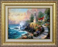 Light of Peace 16x20 Classic Edition Thomas Kinkade Framed Canvas Lighthouse