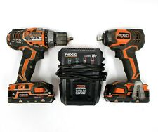 RidGid R86034 18V Impact and RidGid Drill Driver w/ 2x Batteries & Charger